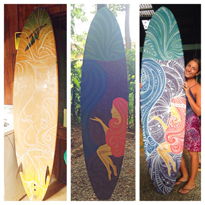 Costa Rican Surfboard Art (process) by Gigi Douglas